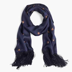 J.Crew Lightweight silk twill scarf in squirrel print