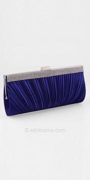 Camille La Vie Satin Rhinestone Border Pleated Clutch Handbag