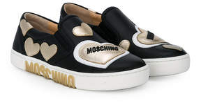 Moschino Kids heart patch slip-on sneakers