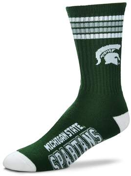 For Bare Feet Men's Michigan State Spartans Deuce Striped Crew Socks