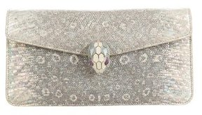 Bvlgari Lizard Serpenti Flap Clutch Bag