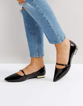 Head Over Heels Hallet Black Patent Pointed Flat Shoes