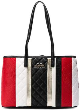 Love Moschino striped wide tote bag