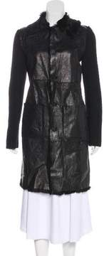 Trussardi Fur-Trimmed Knee-Length Coat
