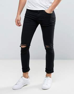 New Look Skinny Jeans With Knee Rips In Black