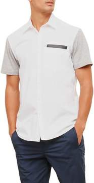 Kenneth Cole New York Reaction Kenneth Cole Short-Sleeve Pleather Colorblock Shirt - Men's