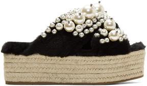 Miu Miu Black Shearling Pearl Espadrille Flatform Sandals