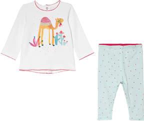 Catimini White Camel Print T-Shirt and Reversible Pink Leggings Set