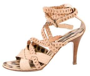 Roberto Cavalli Embossed Leather Cage Sandals
