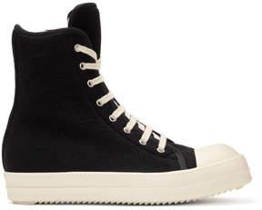 Rick Owens Black Wool Toe Cap High-Top Sneakers