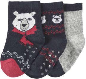 Joe Fresh Baby Boys' 3 Pack Print Socks, JF Midnight Blue (Size 0-12)
