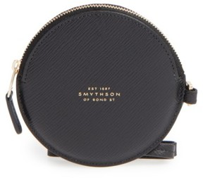 Smythson Women's Circle Leather Coin Purse - Black