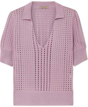 Bottega Veneta Pointelle-knit Silk Top - Lavender