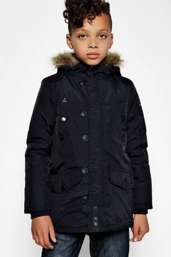 boohoo Boys Padded Faux Fur Hooded Coat