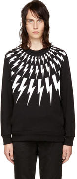 Neil Barrett Black and White Fairisle Thunderbolt Sweatshirt