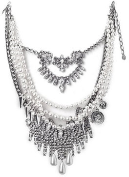 DYLANLEX Rococo Pearly Beaded Statement Necklace
