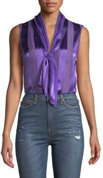 Alice + Olivia Gwenda Sleeveless Paneled Tie-Neck Tunic Blouse