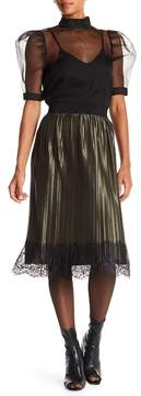 Angie Satin & Lace Pleated Skirt