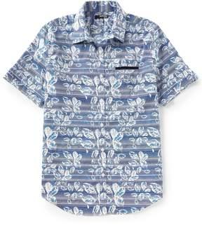 Murano Slim-Fit Leaf Pattern Short-Sleeve Woven Shirt