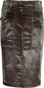 Brunello Cucinelli Crushed Velvet Utility Pencil Skirt