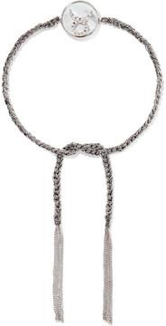 Carolina Bucci Taurus Lucky Zodiac 18-karat White Gold, Diamond, Mother-of-pearl And Silk Bracelet