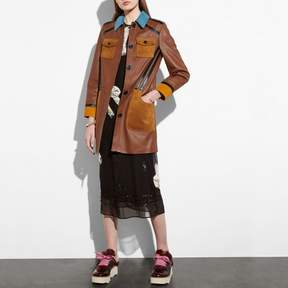 Coach New YorkCoach Leather Coat With Suede Detail