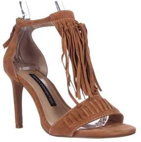 French Connection Lilyana Fringe Ankle Strap Sandals, Safari Sands.