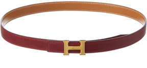 Hermes Burgundy Reversible Leather Constance Belt (Size 75)