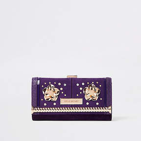 River Island Dark purple embellished clip top purse
