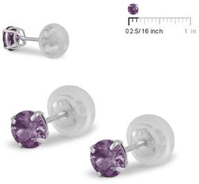 Ice 14K White Gold 4mm Silicone Backs Girls' Earrings