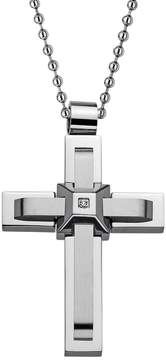 Lynx Cubic Zirconia Stainless Steel Cross Pendant Necklace - Men