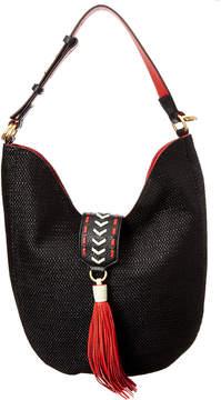 Badgley Mischka Bailey Straw Leather Hobo