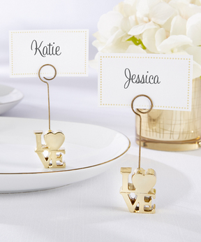 Gold 'Love' Place Card Holder - Set of 12