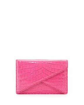 Bottega Veneta Piano Crocodile Crisscross Clutch Bag, Rosa Shock Pink