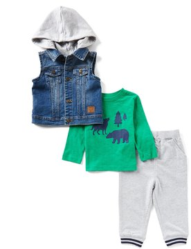 Little Me Baby Boys 12-24 Months Denim Jacket Vest, Bear Tee, & Pants 3-Piece Set