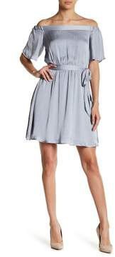 Bardot Off-the-Shoulder Satin Tie Waist Dress