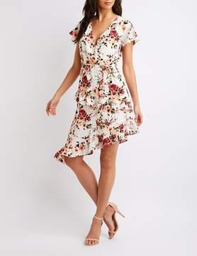 Charlotte Russe Floral Asymmetrical Wrap Dress