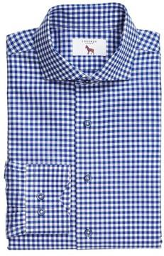 Lorenzo Uomo Men's Trim Fit Textured Gingham Dress Shirt