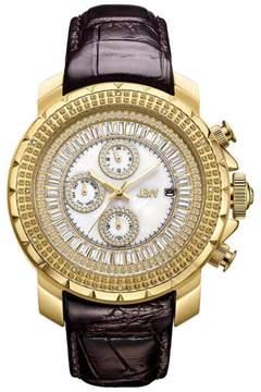 JBW Men's Titus 12-Diamond Goldtone Stainless Steel Brown Leather Watch