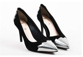 Fendi Nib Black Silver crocktail Cap Toe Pointed Pumps Sz 39.5.