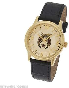 Bulova New Men's Gold Plated Shriner Masonic Watch with Black Leather Strap