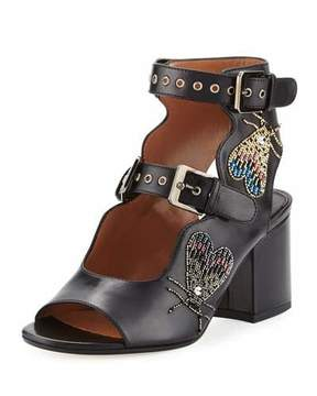 Laurence Dacade Noe Breaded Double-Buckle Sandal, Black