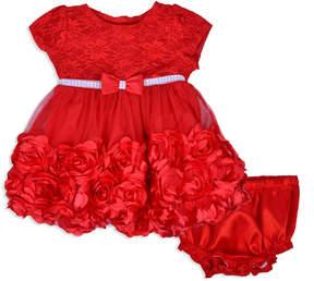 Nanette Baby Short Sleeve Red Flower Holiday Dress - Baby Girls
