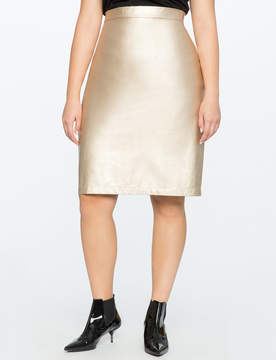 ELOQUII Studio Metallic Faux Leather Pencil Skirt