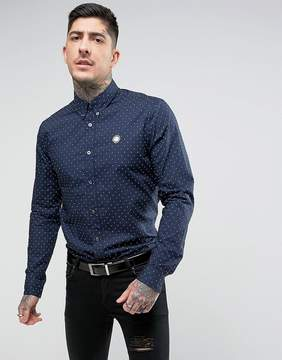 Pretty Green Horlock Polka Dot Shirt in Navy