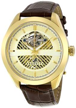 Co Brooklyn Watch Brooklyn Pierrepont Skeleton Men's Automatic Gold Tone Men's Watch