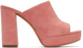 Mansur Gavriel Pink Suede Platform Mules