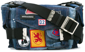 Dsquared2 patched denim Postman bag