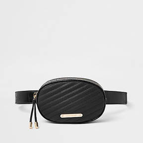 River Island Black croc quilted circle belt bum bag