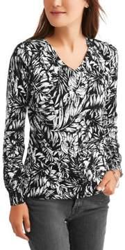 Caribbean Joe Women's Long Sleeve Printed Sweater